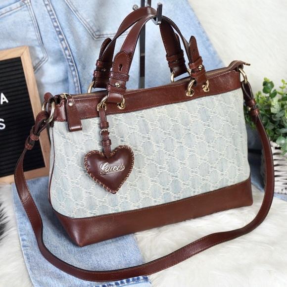 Gucci Handbags - Gucci Denim & Leather Satchel / Crossbody Bag